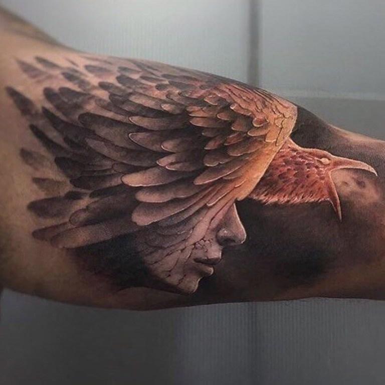 Тату птицы Феникс