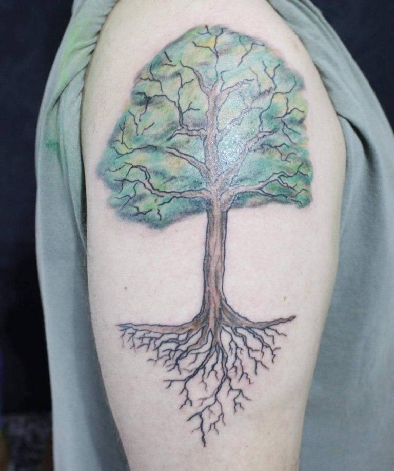 тату дерево на руке