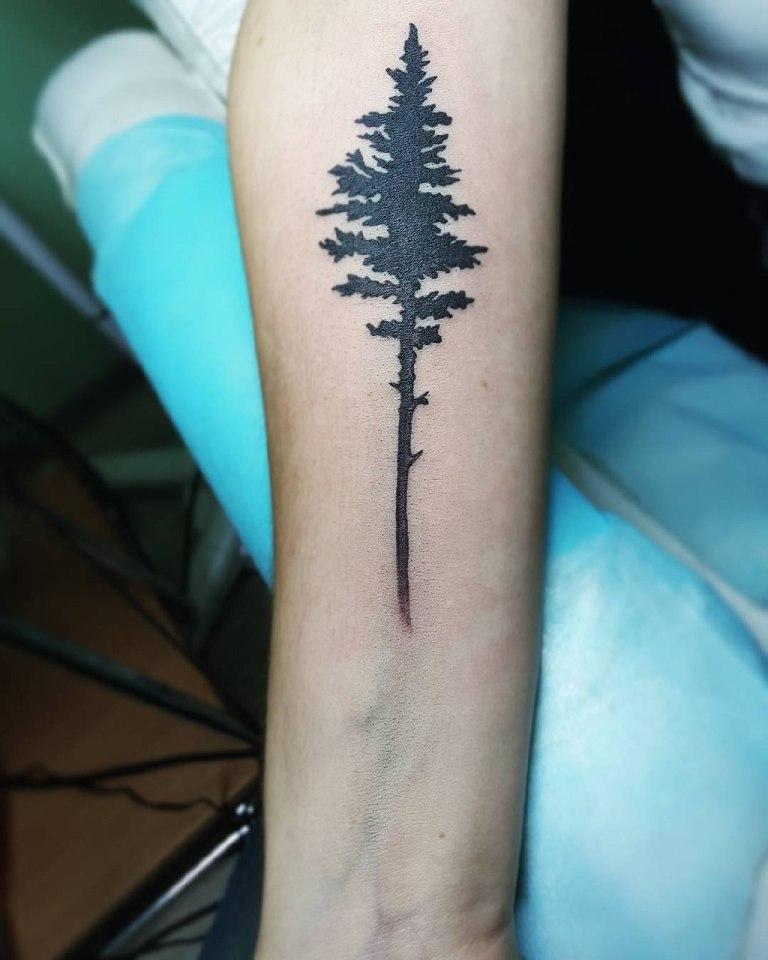 тату деревья на руке