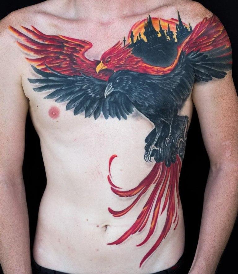 Тату феникс и ворон