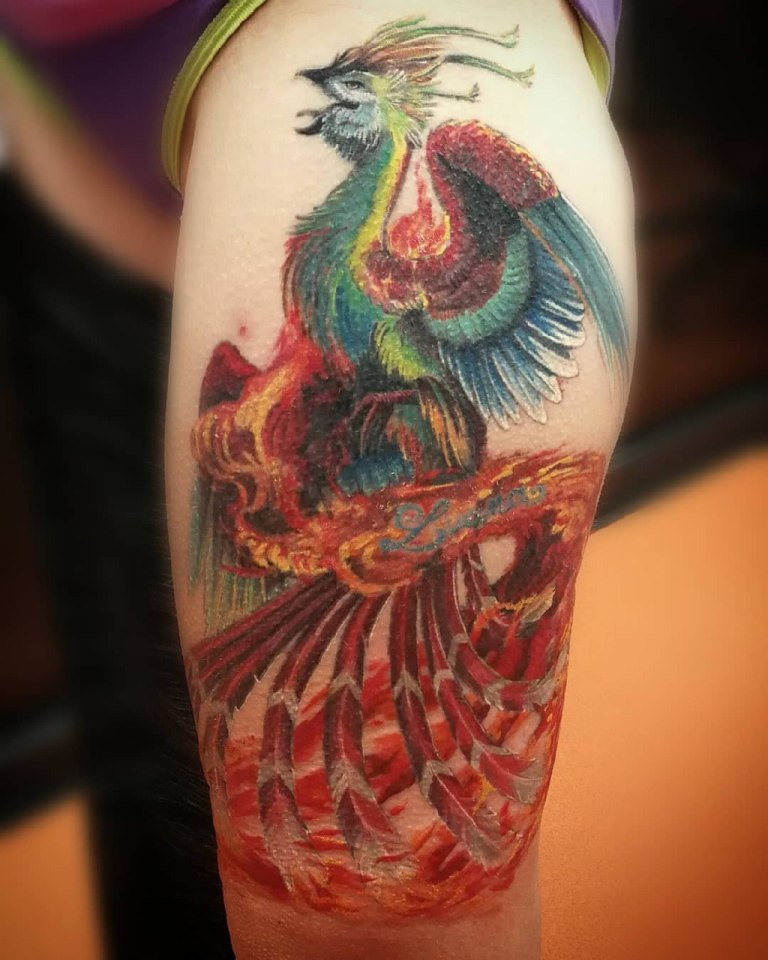 Птица феникс на плече