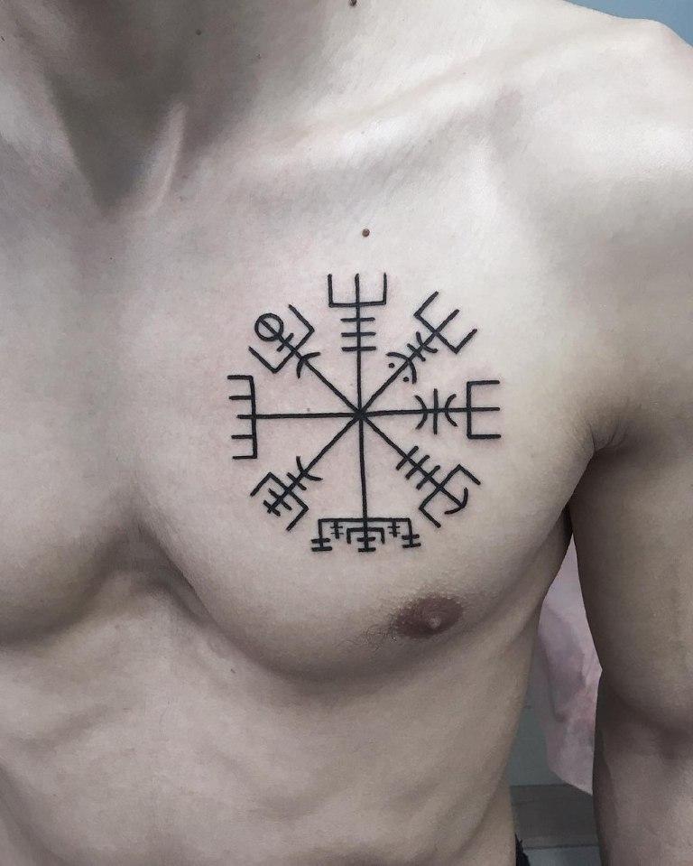 Тату символы на груди