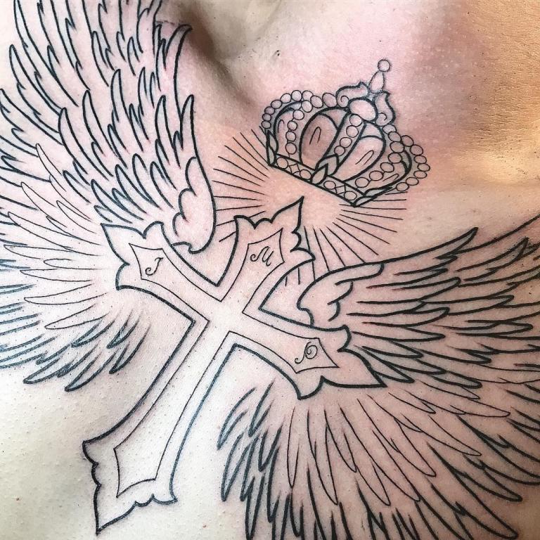 Тату креста с крыльями ангела