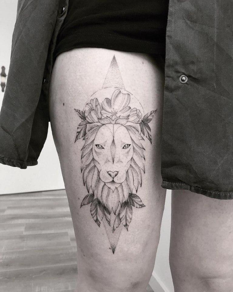 Тату лев дотворк