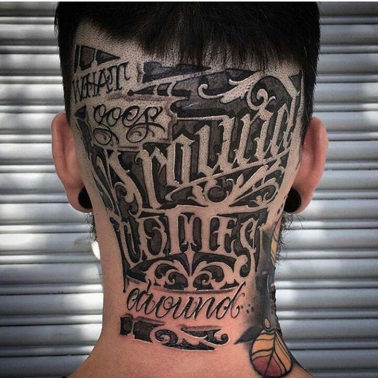 Тату надпись на голове