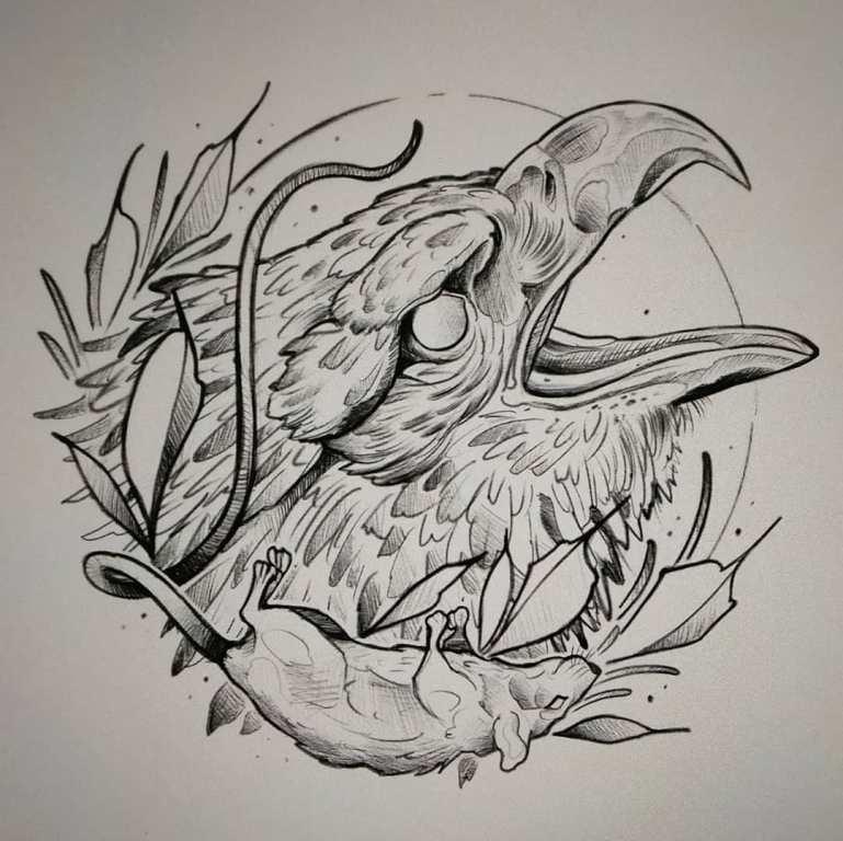 Эскиз голова орла с мышью