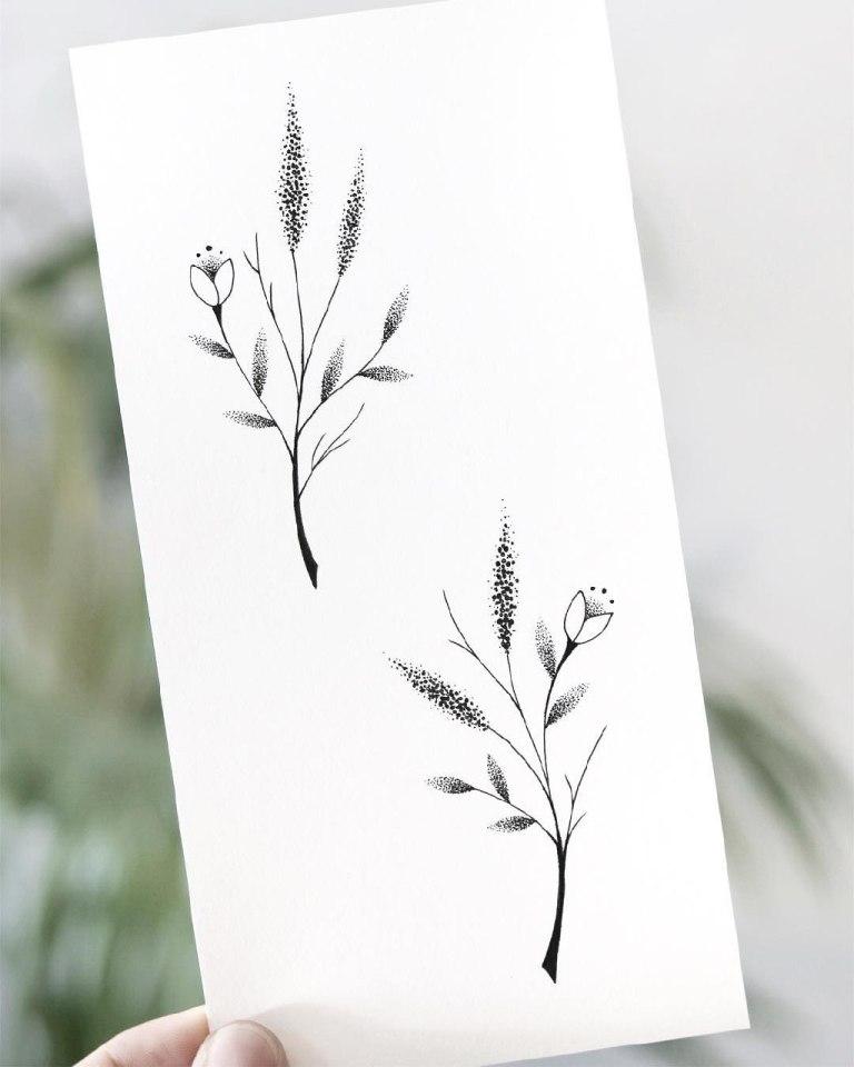 Эскиз цветов на ребра