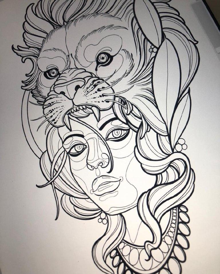 Эскиз девушка и лев
