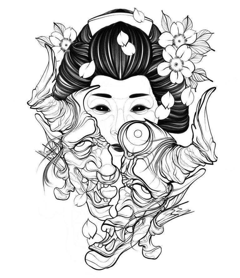 Эскиз японской тату