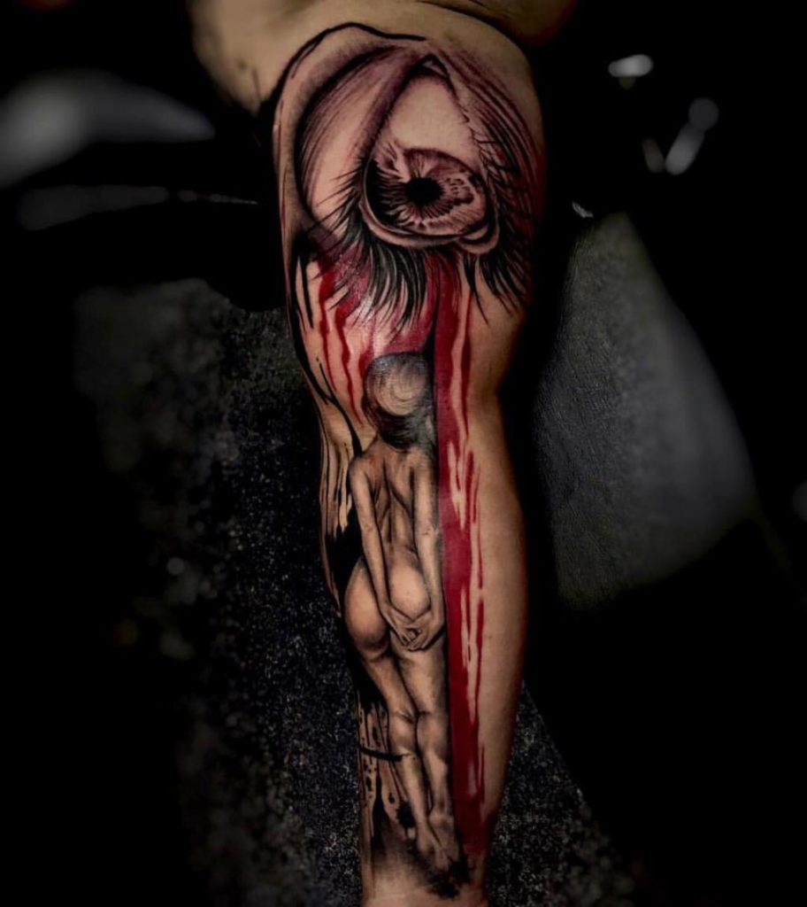 татуировки в стиле трэш полька