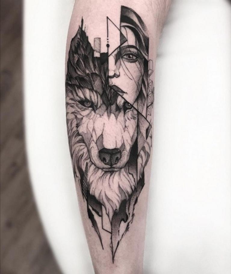Волк с девушкой