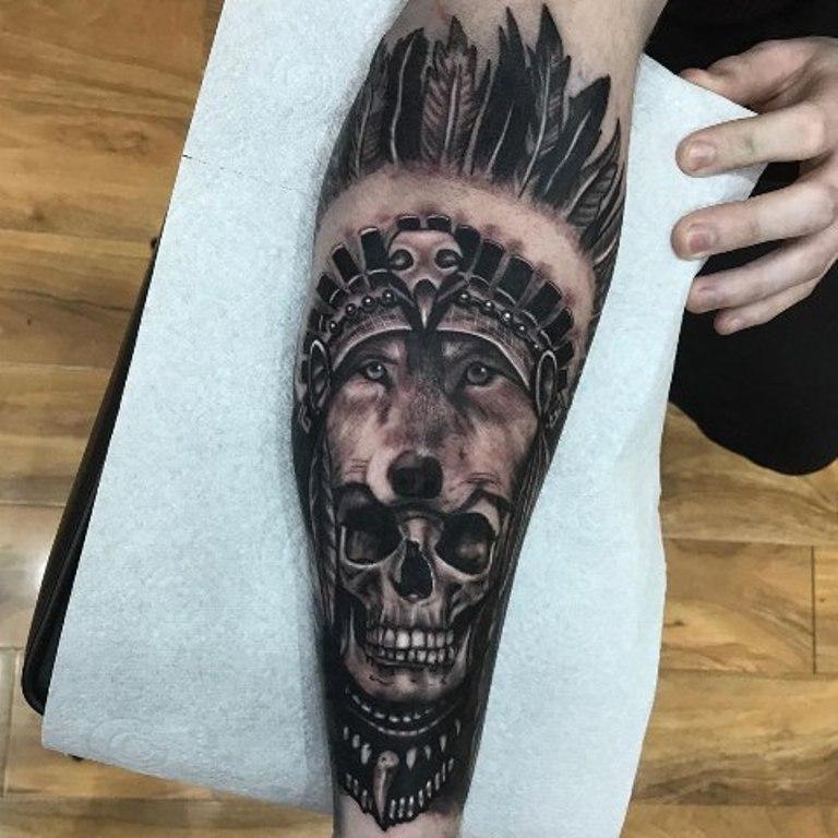 Волк с черепом