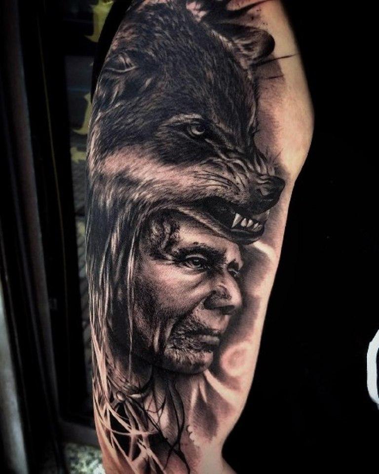 Индеец в шкуре волка
