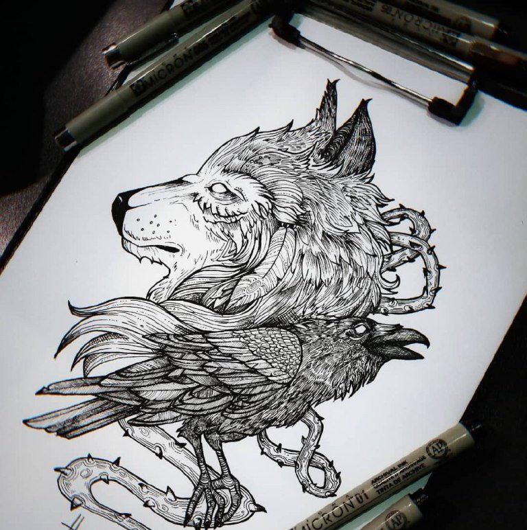 Эскиз волк и ворон