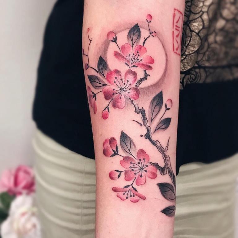 тату на руке цветы
