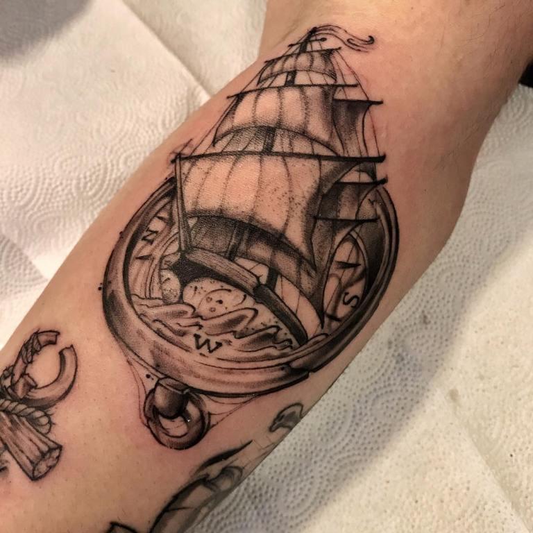 татуировка компас на запястье