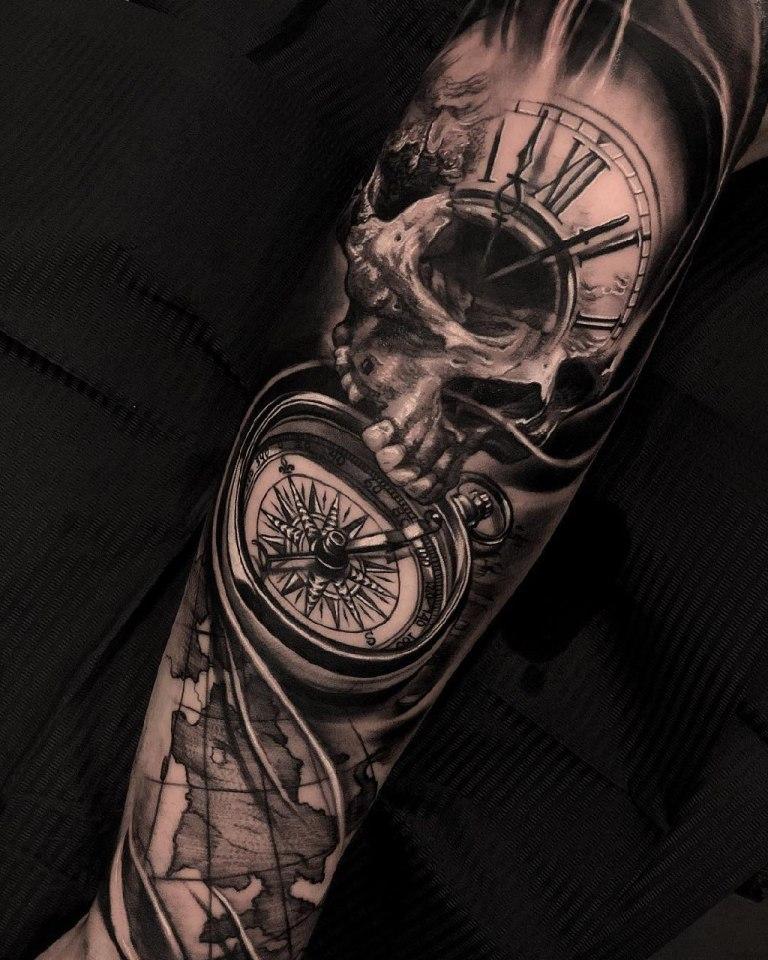 компас татуировка эскиз