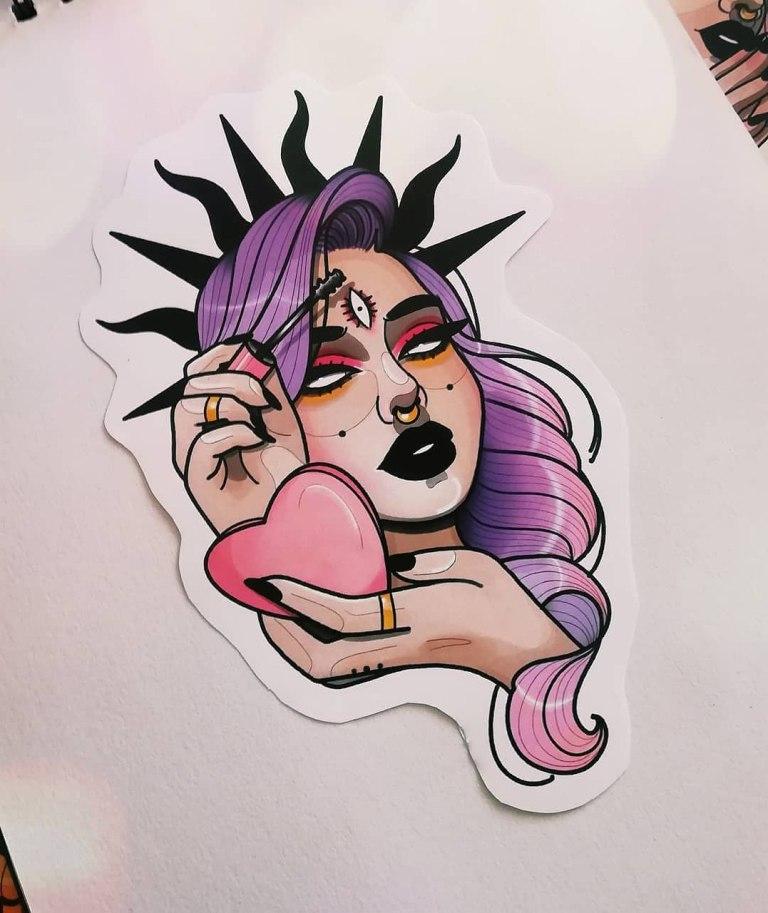 татуировки в стиле нью скул