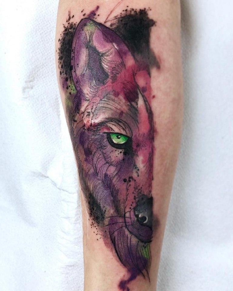 татуировка акварельная техника