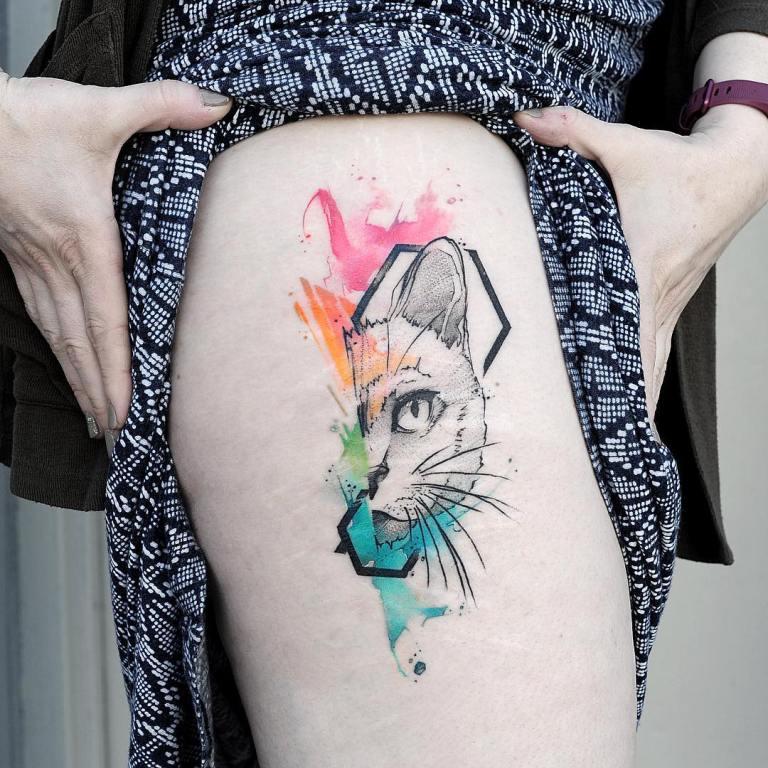 татуировки в стиле акварель эскизы