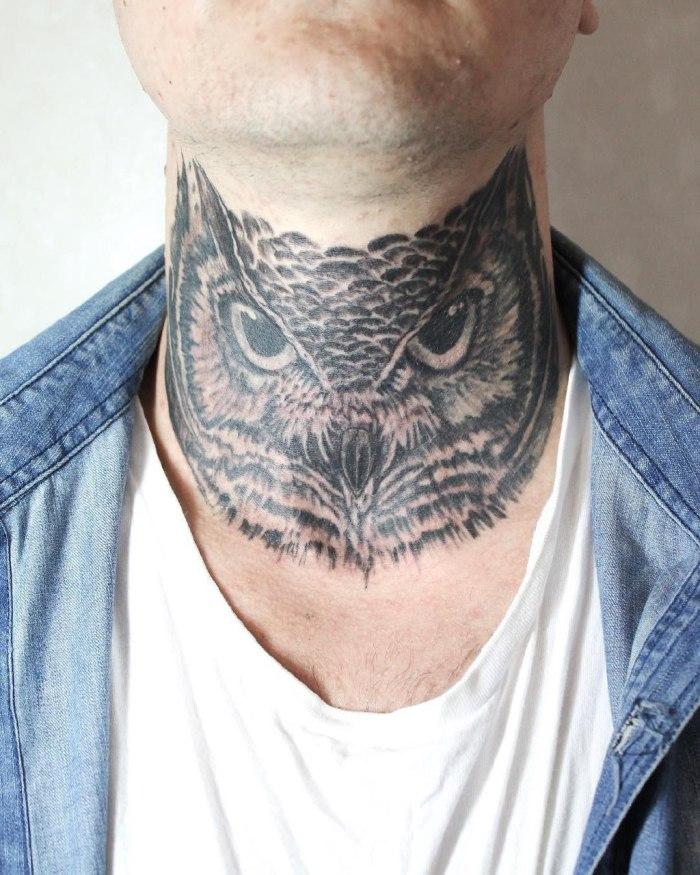мужские татуировки на шее