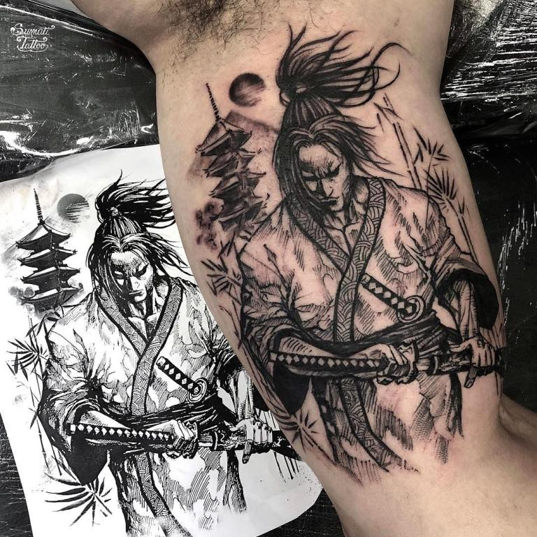 наколка самурай