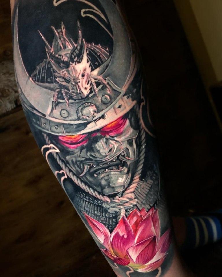 маска самурая тату