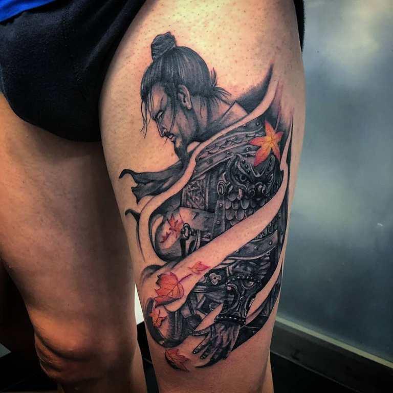 рисунки самураев в доспехах