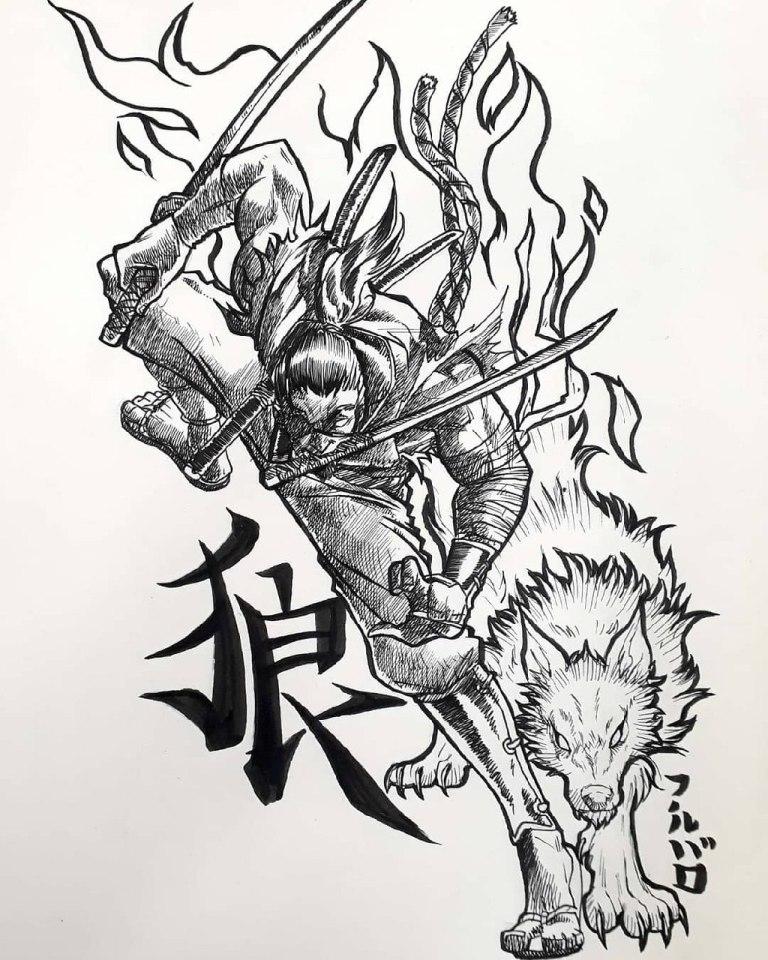 тату япония самурай