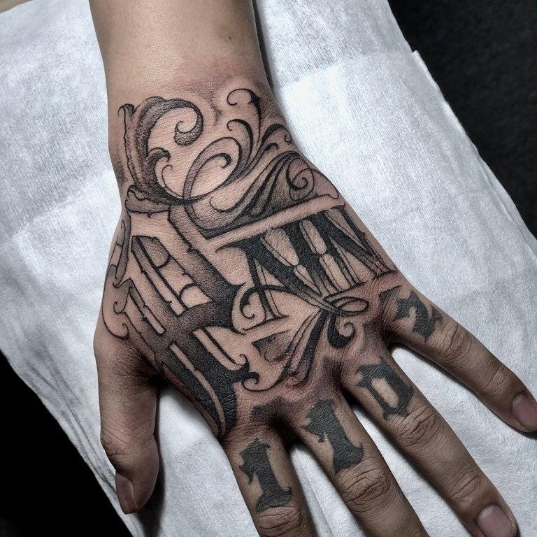надпись на руку