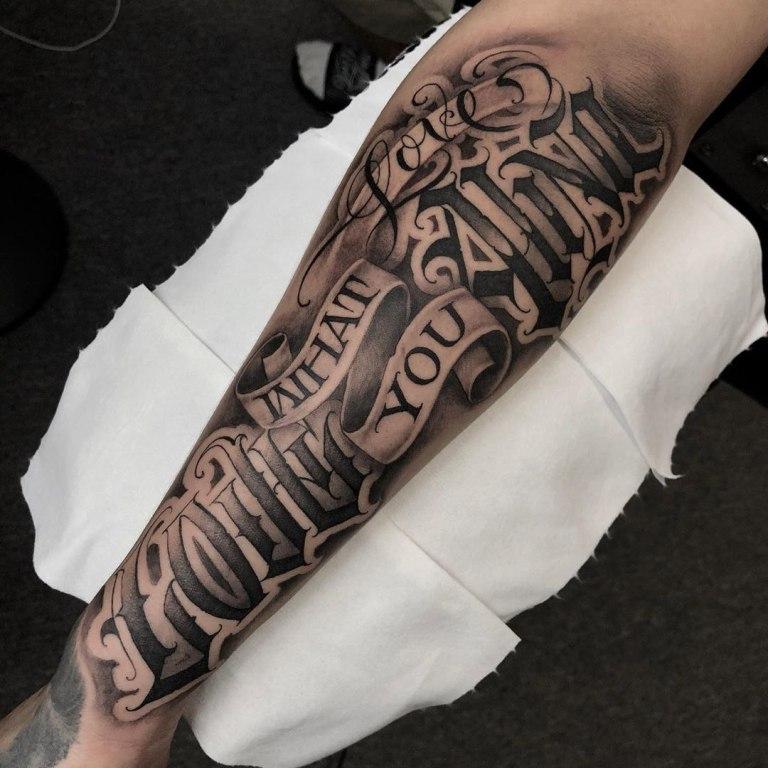 тату надпись на руке мужские