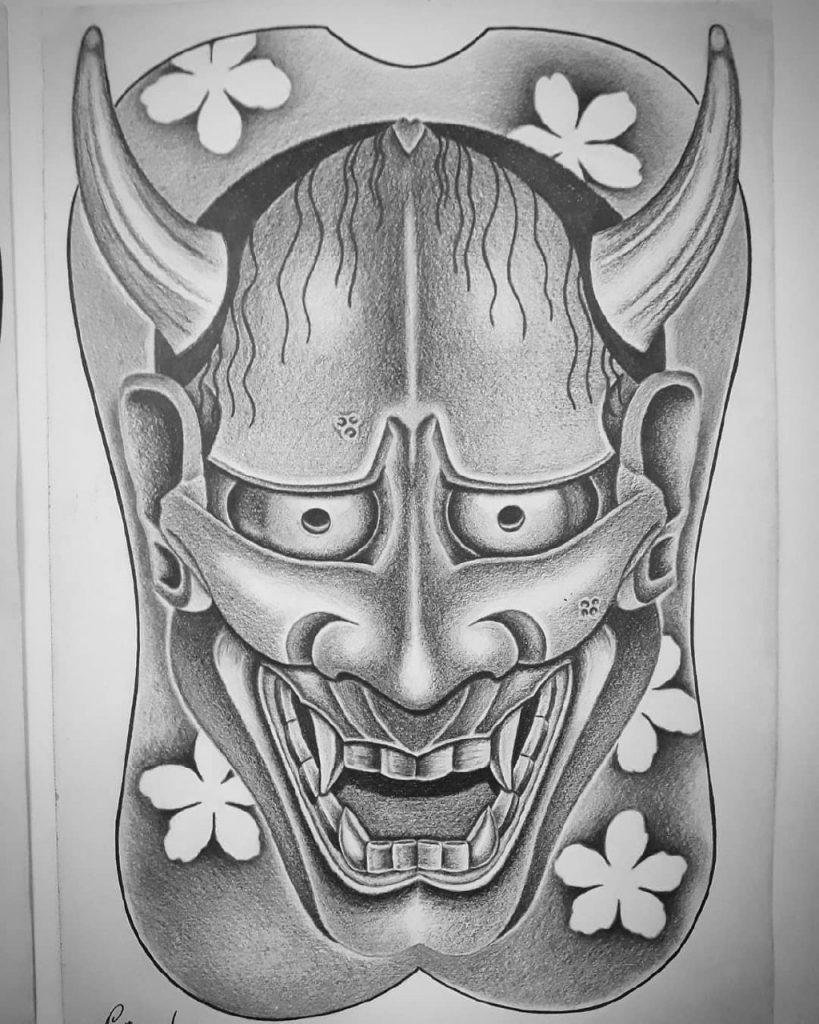 японские маски тату