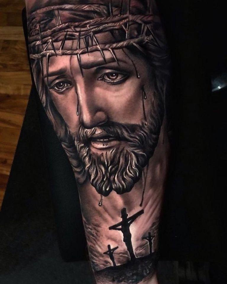татуировка иисуса христа