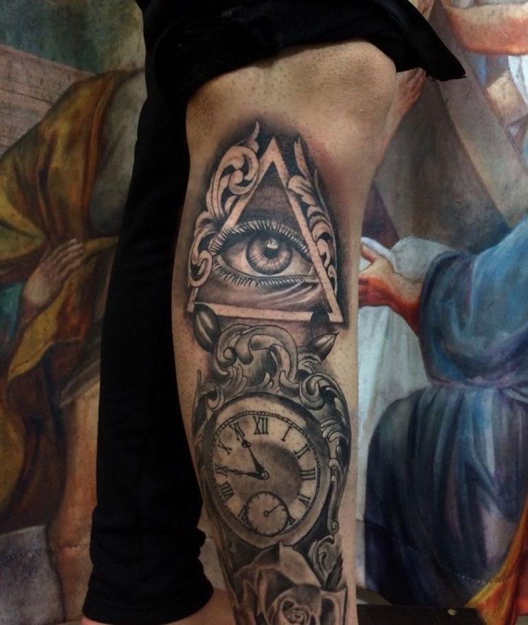 татуировка часы эскизы