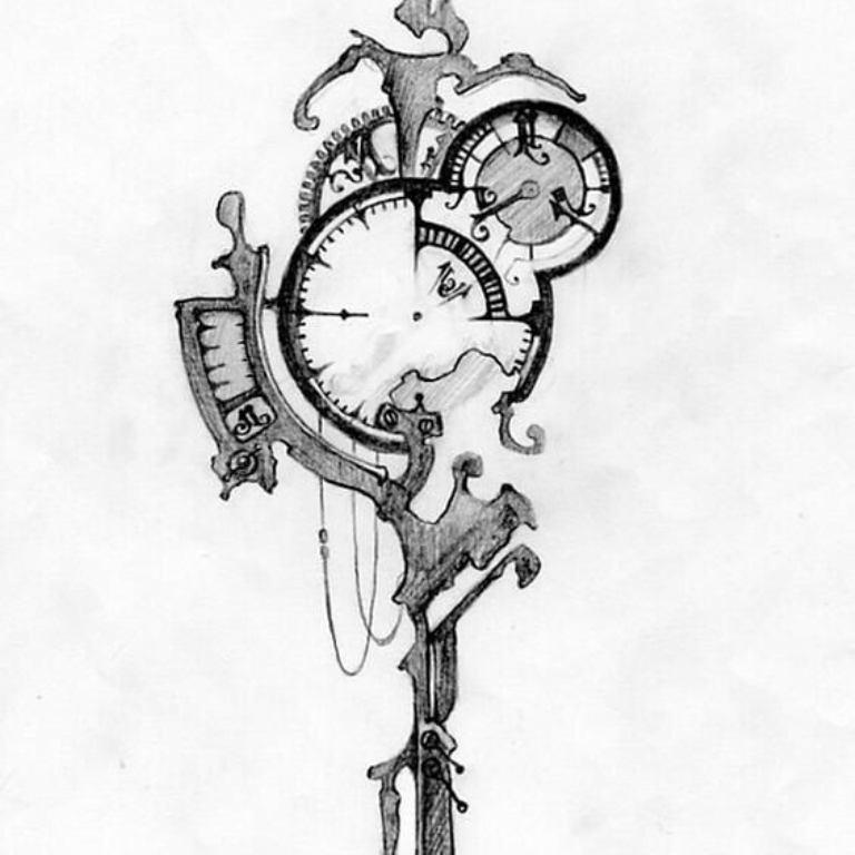 эскиз тату часы