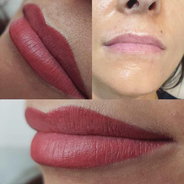 перманентный макияж губ до и после