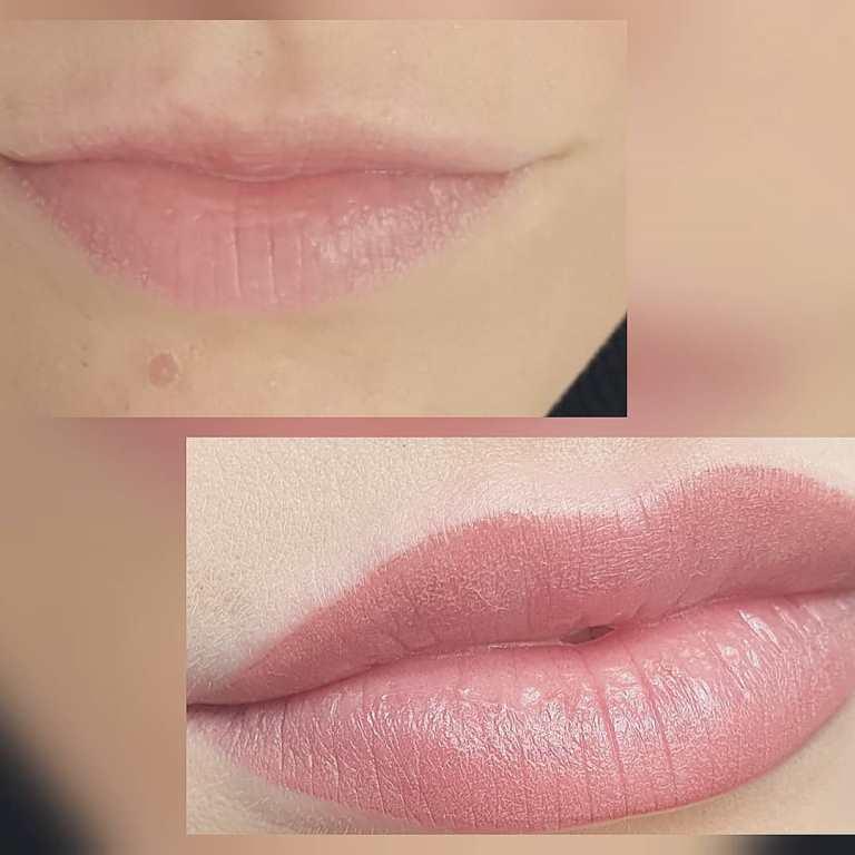 перманентный макияж губ до и после фото