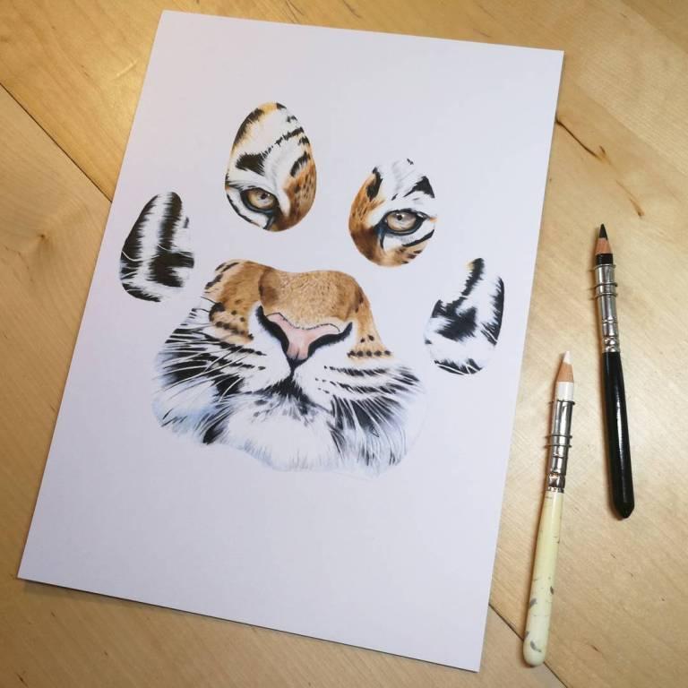 тату лапа тигра