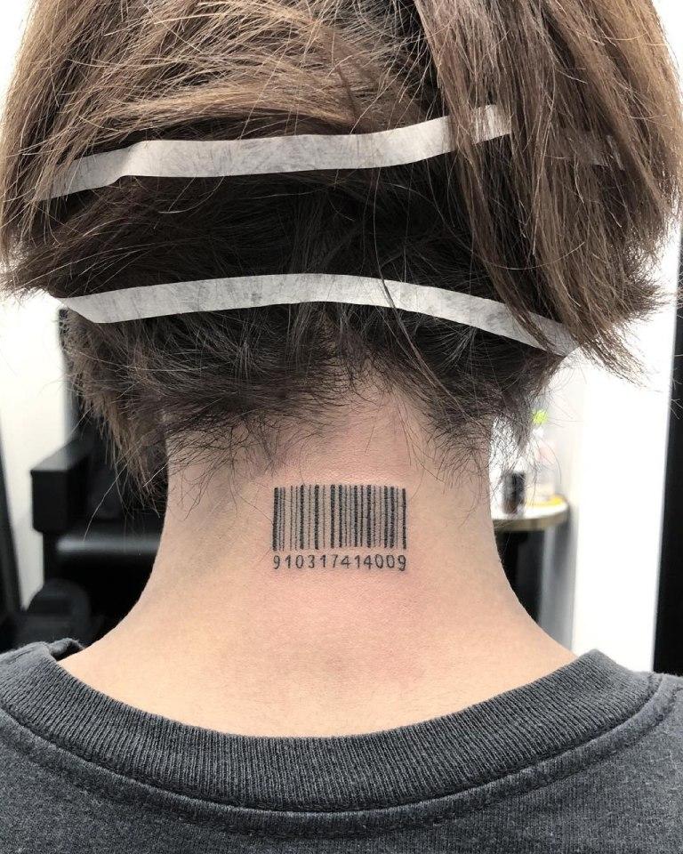 что означает татуировка штрих код на шее
