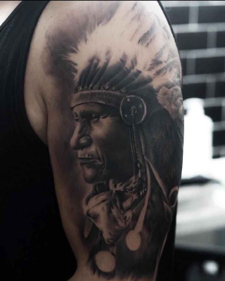 тату индейская тематика