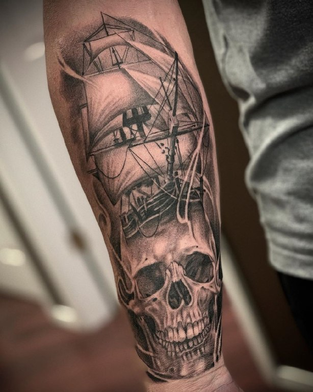 пиратский корабль тату