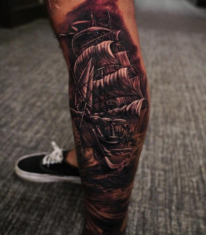 тату пиратский корабль