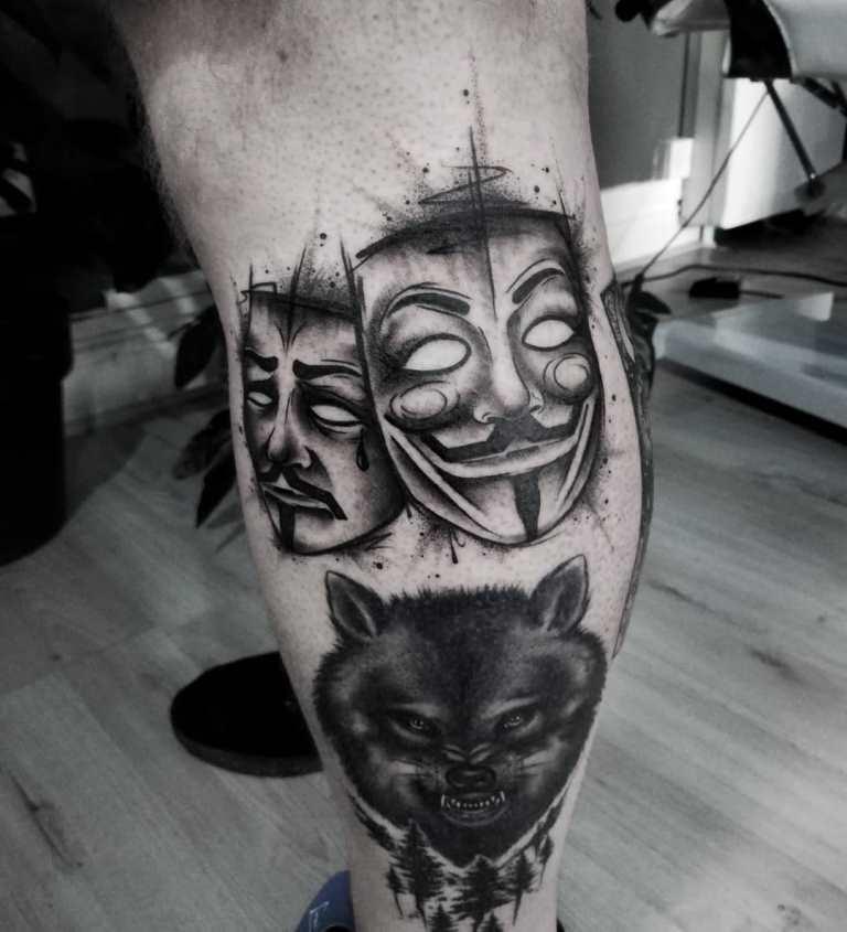 театральные маски тату эскизы