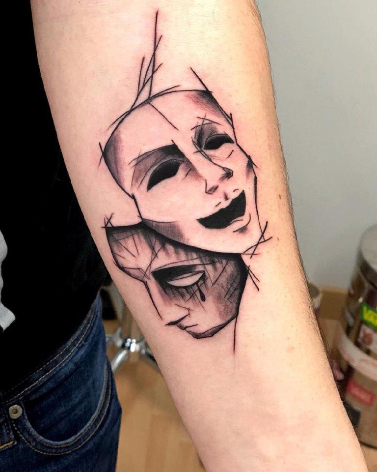 театральные маски тату