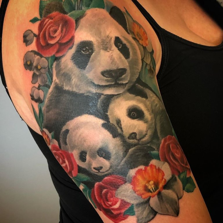 тату панда для девушек