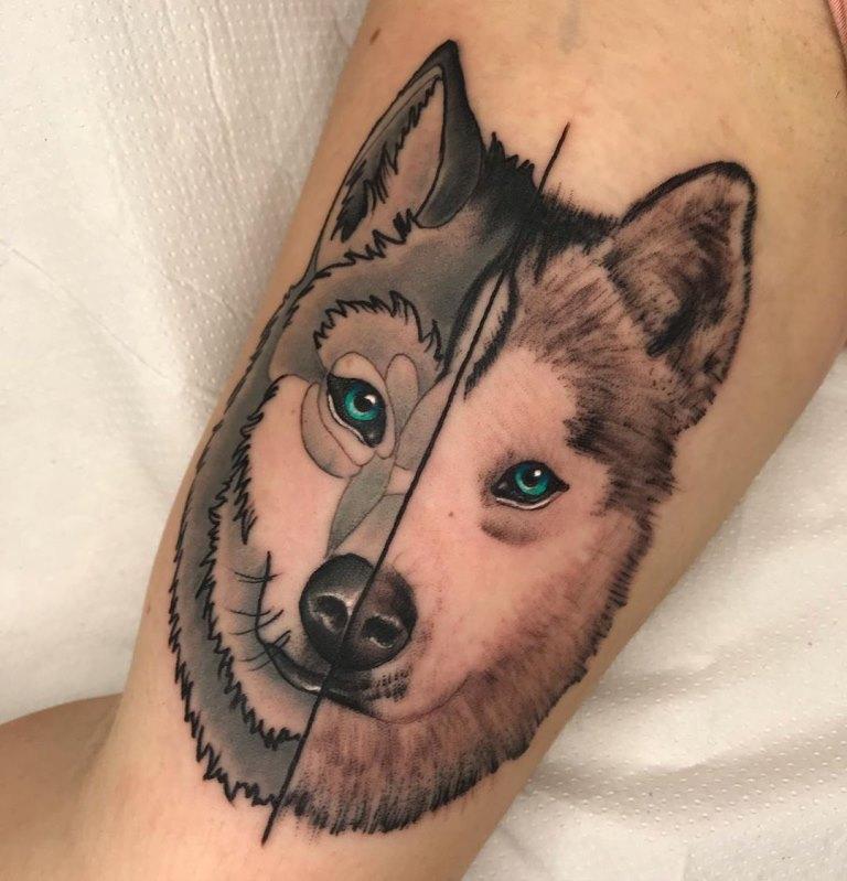 тату волчица для девушки