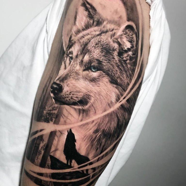 волчица с волчатами тату