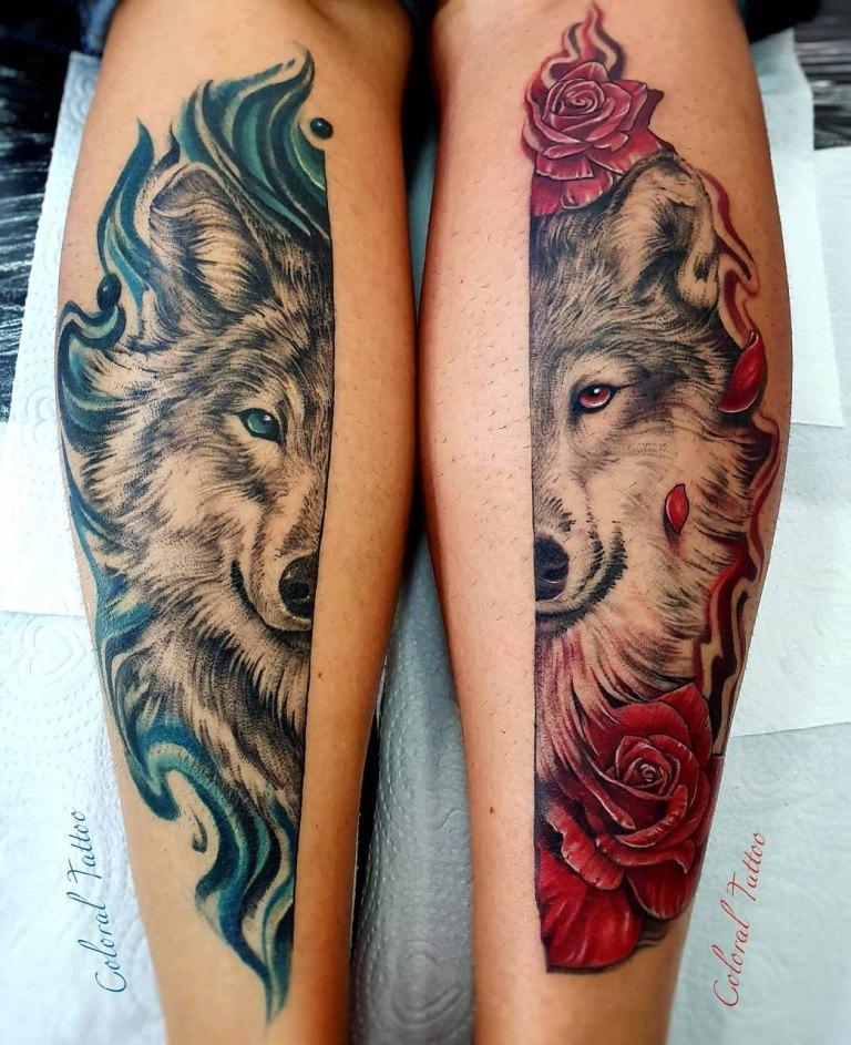 тату волк и волчица