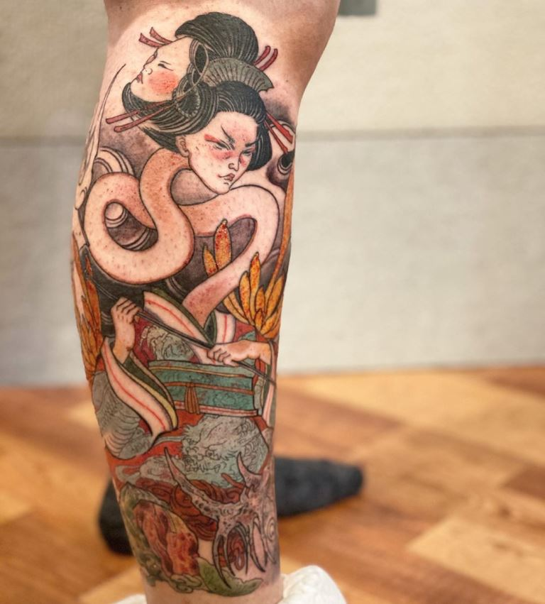 японская маска тату