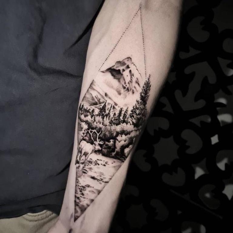 тату рукав горы